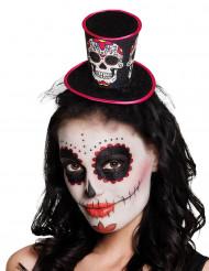 Mini sombrero de copa mujer Día de los muertos