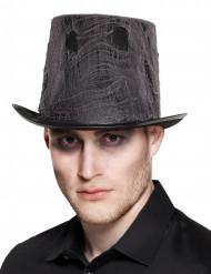 Sombrero de copa negro con tela adulto Halloween
