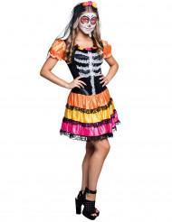 Disfraz esqueleto color adolescente Día de los muertos