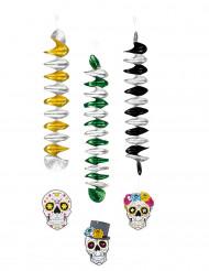 3 Decoraciones para colgar esqueleto colores 60 cm Día de los muertos