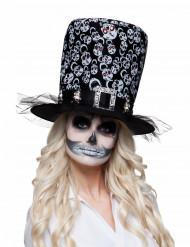 Sombrero de copa esqueleto adulto Halloween