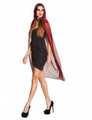 Capa roja brillante con capucha 140 cm mujer Halloween