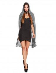 Capa plateada brillante con capucha 140 cm mujer Halloween