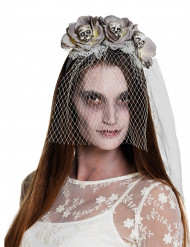 Diadema con velo zombie blanco mujer Halloween