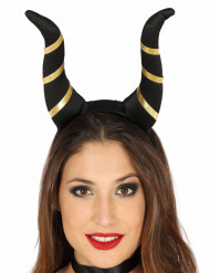Cuernos demonio negro mujer Halloween