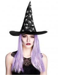 Sombrero bruja araña con pelo mujer Halloween