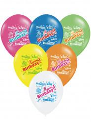 6 Globos multicolores Happy Birthday