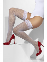 Medias de red blancas con contorno de encaje siliona mujer