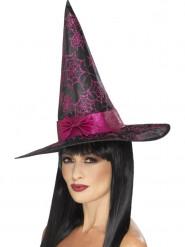 Sombrero de bruja negro y rosa con purpurina mujer Halloween