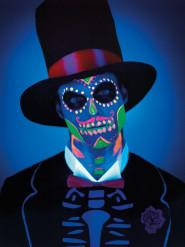 Maquillaje látex calavera fosforescente mujer Día de los Muertos