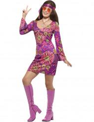 Disfraz hippie flores violeta mujer