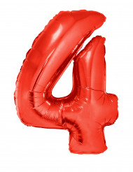 Globo de aluminio gigante número 4 rojo 102 cm