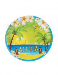 8 Platos de cartón Aloha 23 cm