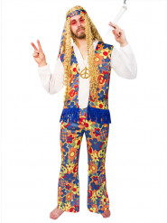 Disfraz hippie con flores adulto