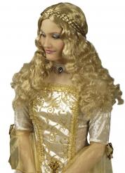 Peluca larga con trenzas medieval mujer