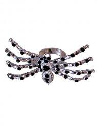 Anillo araña piedras brillantes plateado y negro