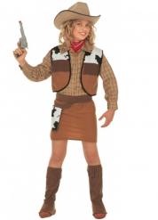 Disfraz Cow-girl marrón para niña