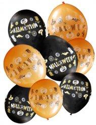 8 Globos negros y naranja Halloween