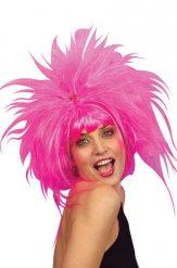 Peluca rizado rosa adulto