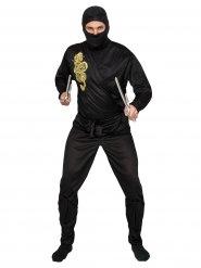 Disfraz ninja negro y dorado adulto