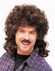 Peluca y bigote castaño para hombre