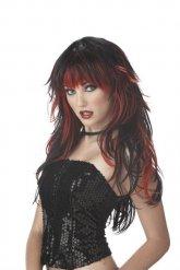 Peluca gótica negra y roja
