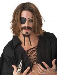 Kit de bigotes pirata castaño adulto