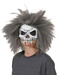 Máscara cráneo de esqueleto con pelo gris-blanco