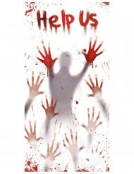 Decoración ensangrentada Help us para puerta Halloween