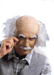 Peluca bigote y cejas de sabio loco adulto