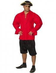 Camisa roja de pirata adulto