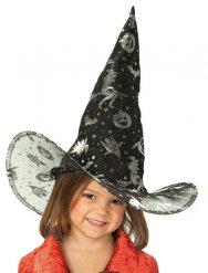 Sombrero de bruja negro con dibujos niña Halloween