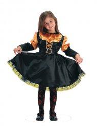 Disfraz bruja naranja y negro niña