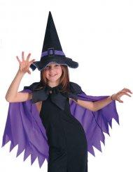 Capa violeta con sombrero de bruja negro niña