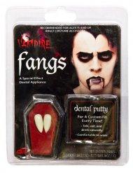 Dientes de vampiro blanco adulto con cola