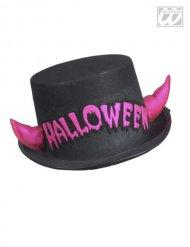 Sombrero de copa negro con cuernos rosas Halloween