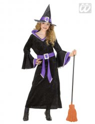 Disfraz de bruja niña negro y violeta Halloween