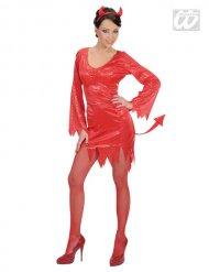 Disfraz diablesa rojo con lentejuelas mujer Halloween