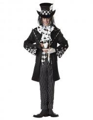 Disfraz sombrerero loco negro y blanco hombre