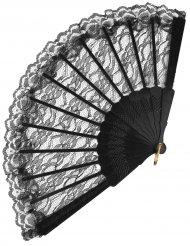 Abanico encaje negro 24 cm adulto