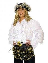 Camisa pirata blanca con volantes adulto
