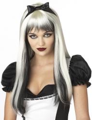 Peluca blanca y negra pelo largo con mechas adulto
