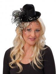 Mini sombrero alto con pluma negras