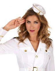 Diadema mini sombrero marino blanco mujer