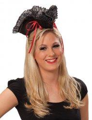 Sombrero de pirata mujer rojo y negro