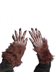 Guantes lobo feroz marrón Halloween