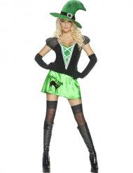 Disfraz bruja sexy verde negro mujer