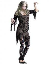 Disfraz zombie Halloween gris mujer