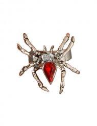 Anillo araña con strass rojo Halloween