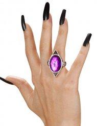 Anillo gótico con piedra violeta